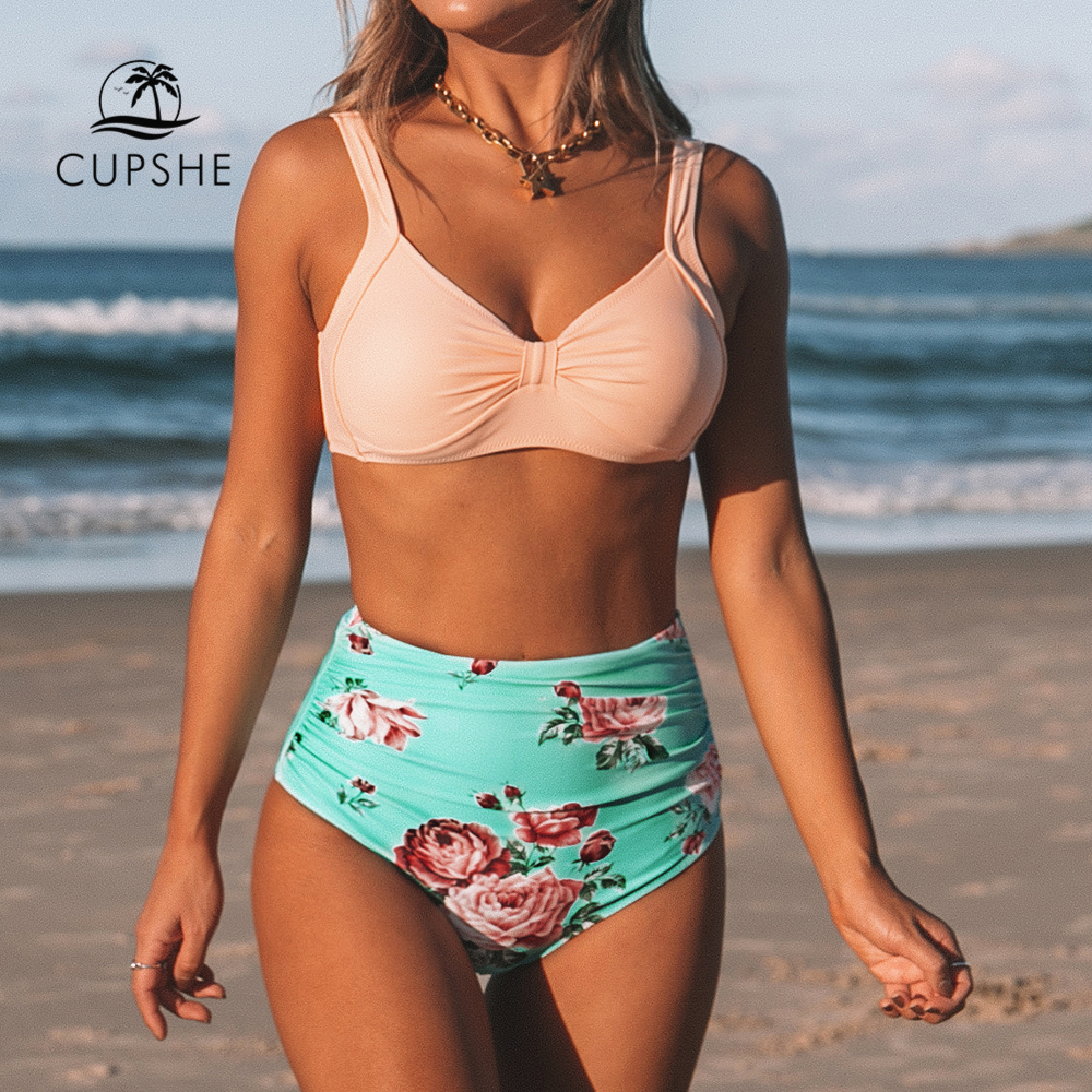 CUPSHE Pink And Green Floral High-waisted Bikini Sets Women Heart Neck Cute Two Pieces Swimsuits Women Sexy Beach Bathing Suits