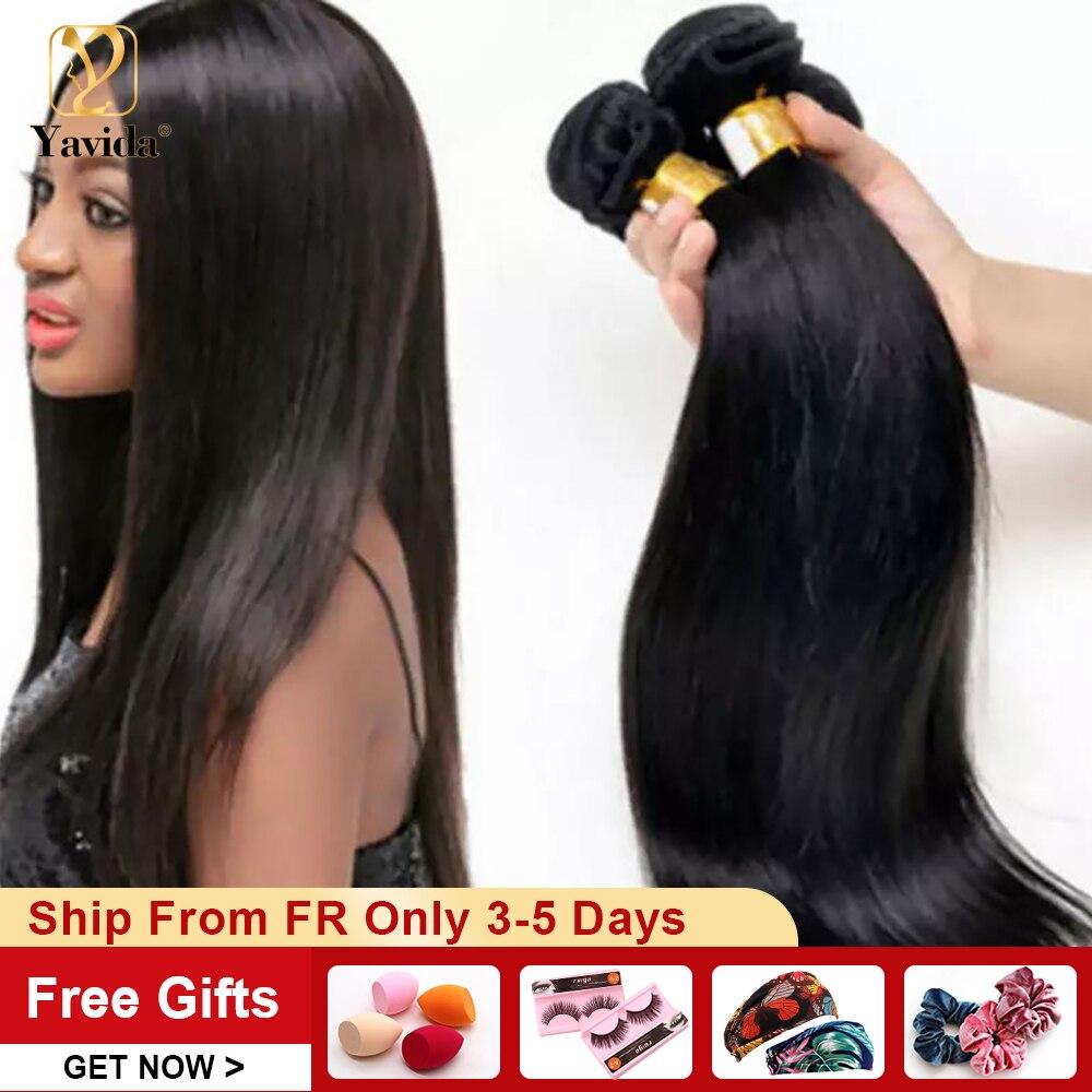 Yávida brasileiro feixes de cabelo humano em linha reta 100% feixes de tecer cabelo humano a granel por atacado para revenda cor natural não remy