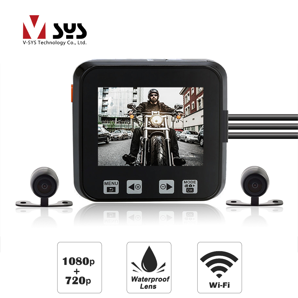 SYS VSYS M6L Upgrade M6 WiFi Dual Motorcycle Camera Recorder DVR Motorbike Dash Cam Front SONY IMX 323 1080P Rear View 720P