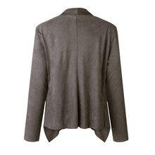 Women Slim Blazers Autumn Suit Jacket Female Office Lady Suit None Button Irregular Notched Plus Size Blazer Coat