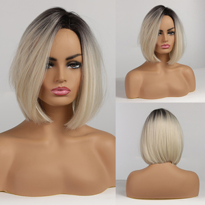 Short Straight Bob Hairstyle Synthetic Wigs Brown to Light Blonde Ombre Hair Side Part For Women Cosplay Heat Resistant Wigs