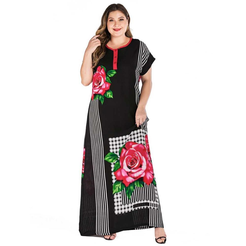 2019 Plus Size Tribal Botanical Print Boho Dress Women Summer Tunic Short Sleeve Straight Shift Geometric Maxi Dresses VKDR1821