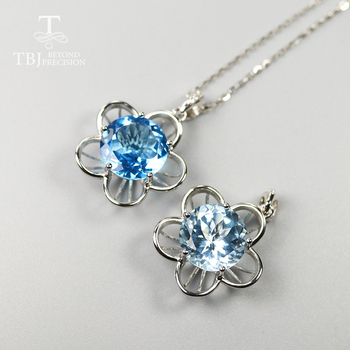 Round 12mm 6.5ct blue topaz pendant natural gemstone pendant necklace 925 sterling silver fine jewelry for women