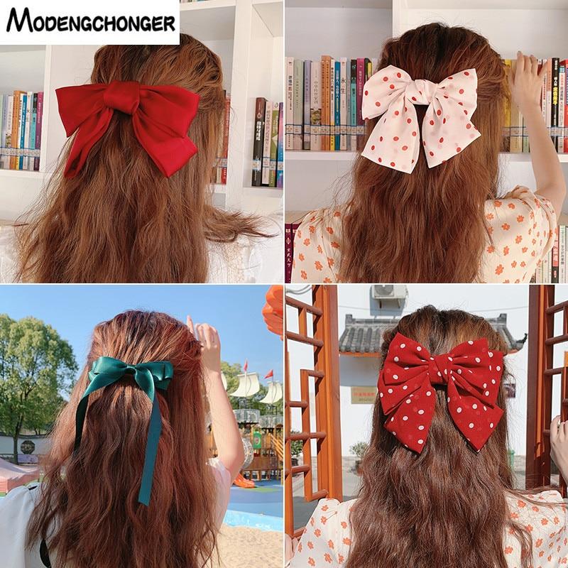 Korean Fashion Big Barrette Bow Hairpin For Girls Ladies New Long Ribbon Bow Tie Chiffon Hair Clip For Woman  Hair Accessories