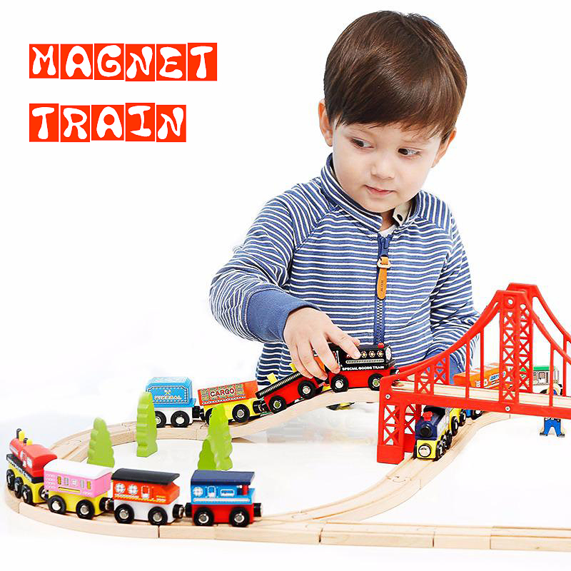 Railway Track Wooden Small Train Crane Set With Magnet Is Compatible With The Original Wooden Track Boys' Toys Wooden Track Toys
