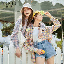 SEMIR Women plaid blouse 2020 new pure cotton comfortable retro trend long sleeve long cute fashion girl shirt(China)