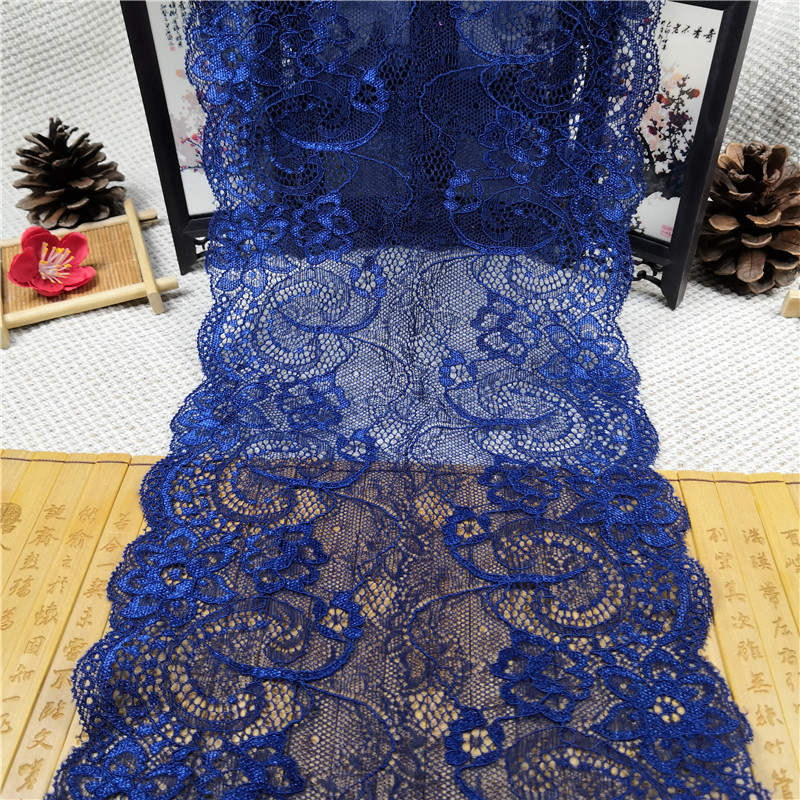 RR1020 18,5 см мягкого эластичного кружева аксессуары синий стрейч ручной ткань кружевной ободок платье Материал: кружево