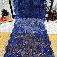 Rr1020 18.5cm macio elástico rendas acessórios azul estiramento mão tecido laço hem vestido material laço