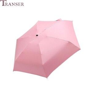 Image 2 - Transfer 9 renk düz hafif güneşli yağmurlu beş katlanır şemsiye katlanabilir güneş koruyucu Mini şemsiye 9905