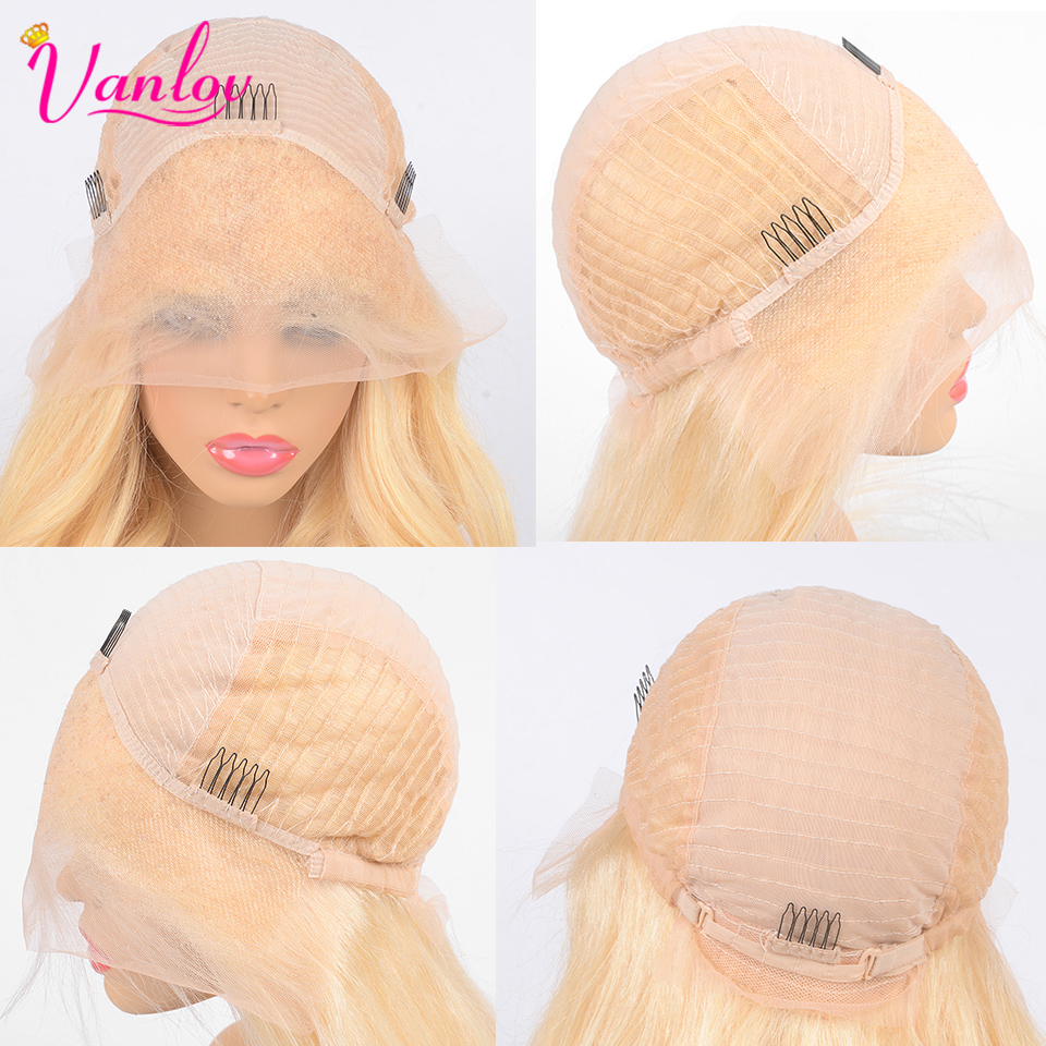 Vanlov 13X4 Malaysian Straight Lace Front Wig Human Hair 8-26'' Straight Blonde Lace Front Wig With Baby Hair Remy Blonde Wigs