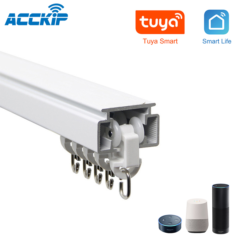 ACCKIP Electric Curtain Track Customizable Super Quite For Smart Home DIY Install Work With Curtain Motor