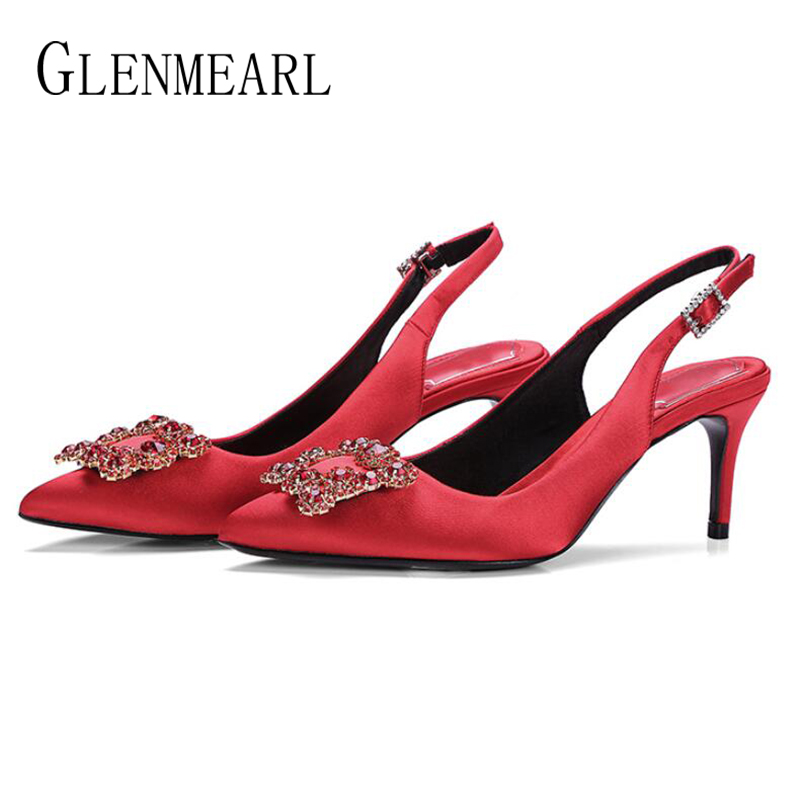 Women Shoes High Heels Female Pumps Colorful Silk Rhinestone Heeled Shoes For Women Brand Dress Shoes Wedding Shoes 2020 New DE