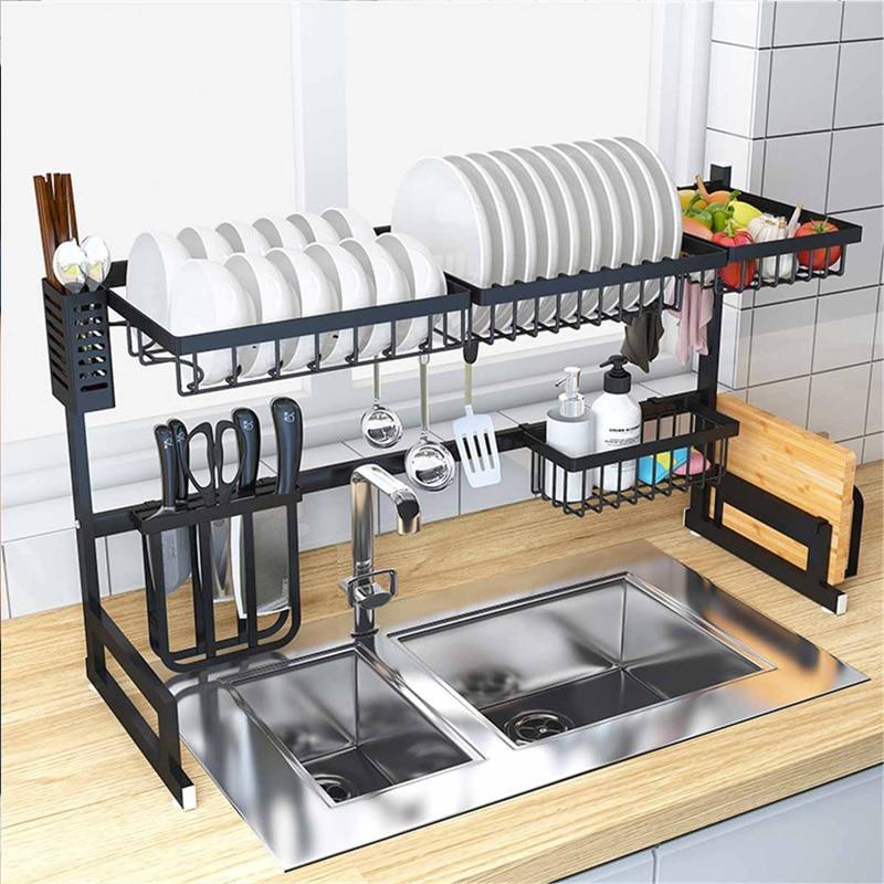 65/85cm Küche Waschbecken Edelstahl Schüssel Schüssel Rack Organizer Regal Lagerung Inhaber Utensilien Lagerung Liefert In Schwarz