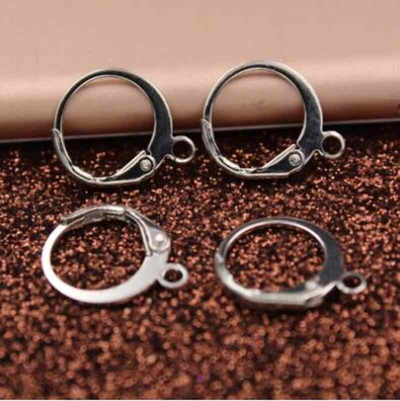 50 sztuk/zestaw kolczyk baza złącze uchwyt 12mm miedzi Handmade DIY biżuteria ustalenia Hoop klip srebrny/złoty фурнитура для бижутерии