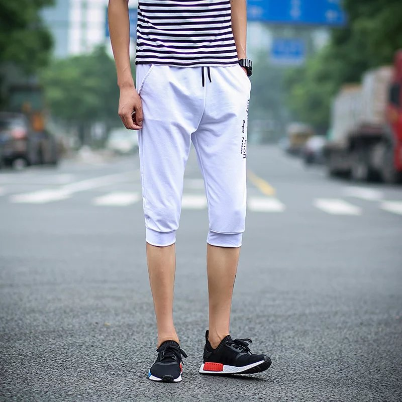 Summer Casual Pants Cropped Trousers For Men Korean-style Slim Fit Skinny Pants Teenager Pants Shorts Trend