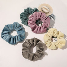 Soft Flannel Solid Color Elastic Hair Bands Velvet Scrunchies Women Hair Tie Rubber Band Simple Ponytail Holder Hair Accessories