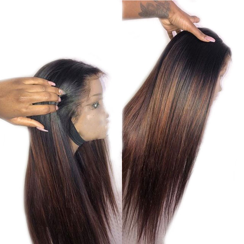 Eversilky Ombre Honey Brown & Red Highlights 13x4 Lace Front Wig Pre Plucked Long Straight  Remy Brazilian Wig With Baby Hair