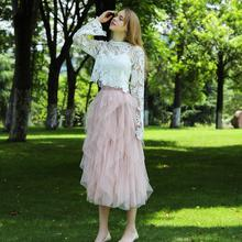 2020 Boho Long Summer Tulle Skirt High Waist Ruffles Women Beach Skirts Pink Jupe Femme Tulle Skirt Saia Midi Faldas