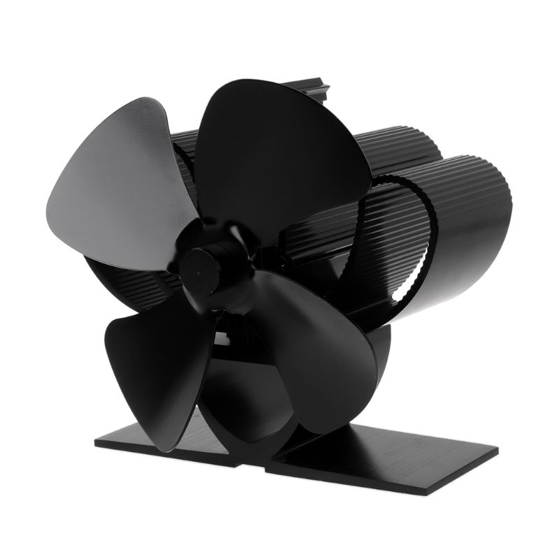 Heat Self-Powered Fireplace Stove Top Fan Quiet 4 Blades Large Room Wood Burner