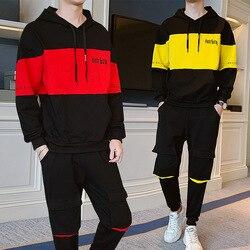 2019 herbst Neue Stil Arbeitskleidung Tasche Hosen Hübscher Männer Mode Casual Koreanische-stil Studenten Hoodie Zwei-Stück Set