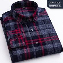 Plus-size 5XL 6XL 7XL 8XL Pure Cotton Plaid Fashion Long Sle