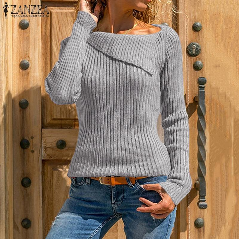 2020 Autumn ZANZEA Fashion Women Knitted Asymmetrical Sweater Jumper Femme Long Sleeve Solid Elasticity Pullovers Sweaters Pull