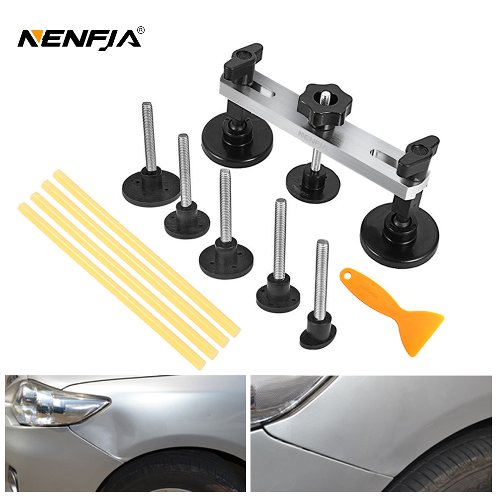 Black Car Dent Repair Puller Tabs Pulling Handle Hail Dents Removal Kit Easy DIY