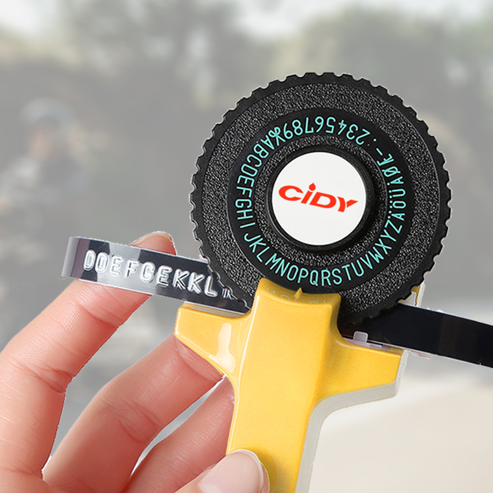 Fabricant d'étiquettes de gaufrage jaune pour MOTEX E101 Version de mise à niveau CIDY C101 Mini machine à écrire manuelle bricolage adapté pour 9mm ruban d'étiquettes 3D