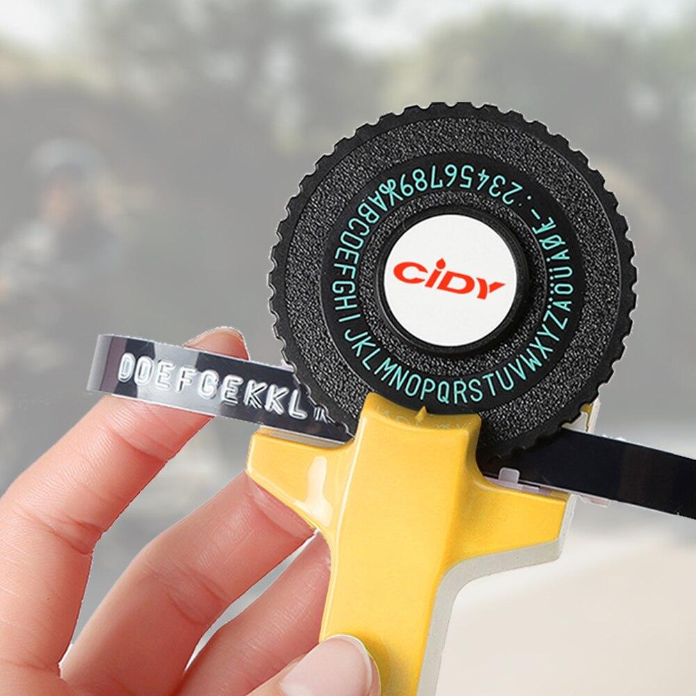 Gelb Präge Label Maker für MOTEX E101 Upgrade Version CIDY C101 Mini DIY Manuelle Schreibmaschine fit für 9mm 3D label Band