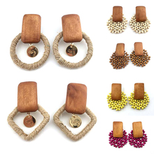 Handmade Wood Bamboo Rattan Pendant Dangle Drop Earrings for women girls Fashion Summer Beach female Unique Jewelry