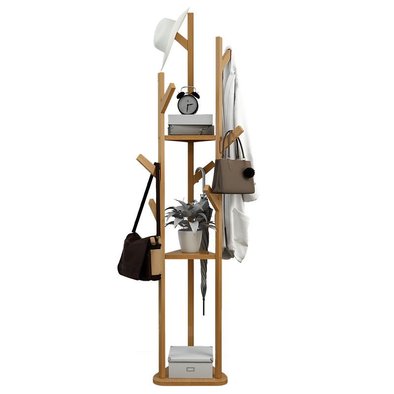 Clothes Hanger Solid Wood Rack Multi-functional Modern Small Storage Rack Simple Home Hanger Floor