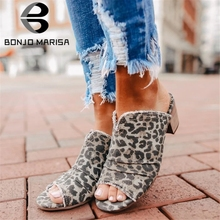 BONJOMARISA 2020 New Arrival INS Hot Pleated Leopard Mules High Block Heels Mules Women Summer Casual slip-on Heels Shoes Woman bonjomarisa 2018 kid suede large size 33 40 women shoes woman slip on chunky heels mules pumps woman shoes