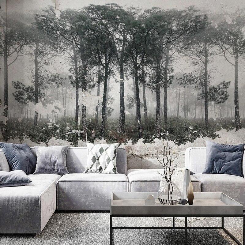 Custom Mural Wallpaper Retro Nostalgic Black White Abstract Forest Bird Art Wall Painting Living Room Bedroom Photo Wall Paper