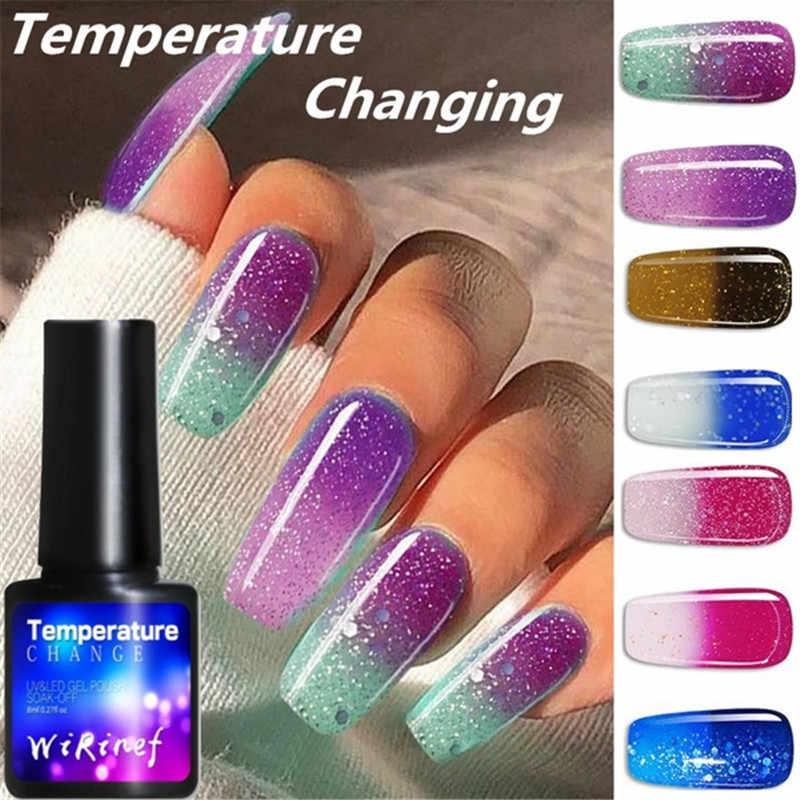 Sfumatura di Colore Del Gel Del Chiodo UV Unghie artistiche Top Coat Base Gel Per Unghie Cambiamento di Temperatura Lacca Si Impregna fuori 8ml Primer, Base trucco polygel