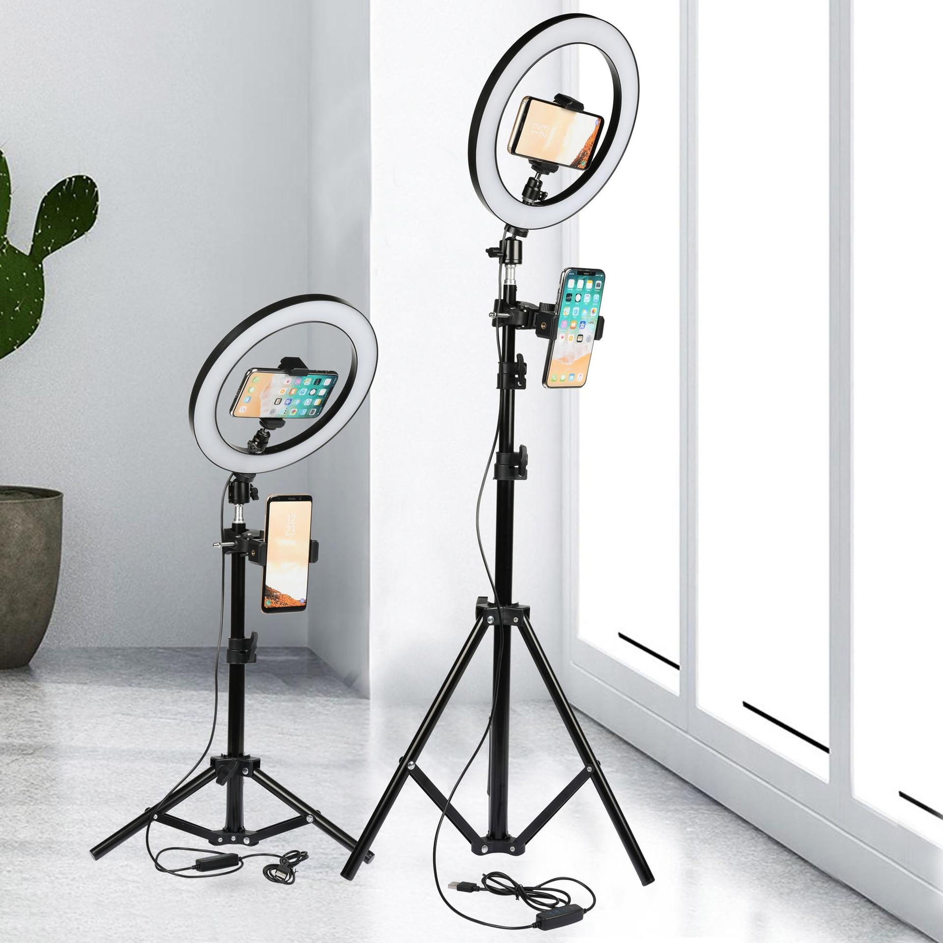 26CM LED Selfie Ring Light Multi-Function Dimmable Ring Light For Cell Phone Holder Camera Live Video Stream Makeup Youtube