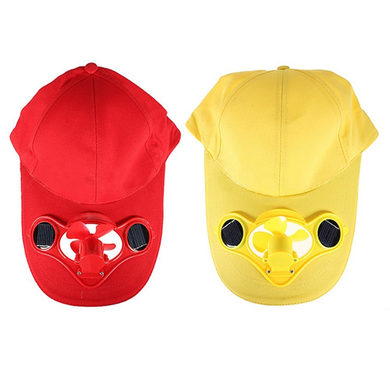 2 Pcs Summer Outdoor Solar Sun Power Hat Cap Cooling Cool Fan For Golf Baseball Sport - Yellow & Red
