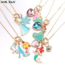 Mhs. sun nova sereia coração de salto alto princesa pingentes de corrente longa colar bonito meninas encantos do bebê corrente colar jóias 1 pçs