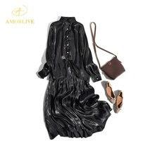 AMOR LIVE Vintage Bright Silk Island Satin Shirt Black Long Dress Half Skirt Suit  Autumn Sleeve Pleats Maxi Party Dresses