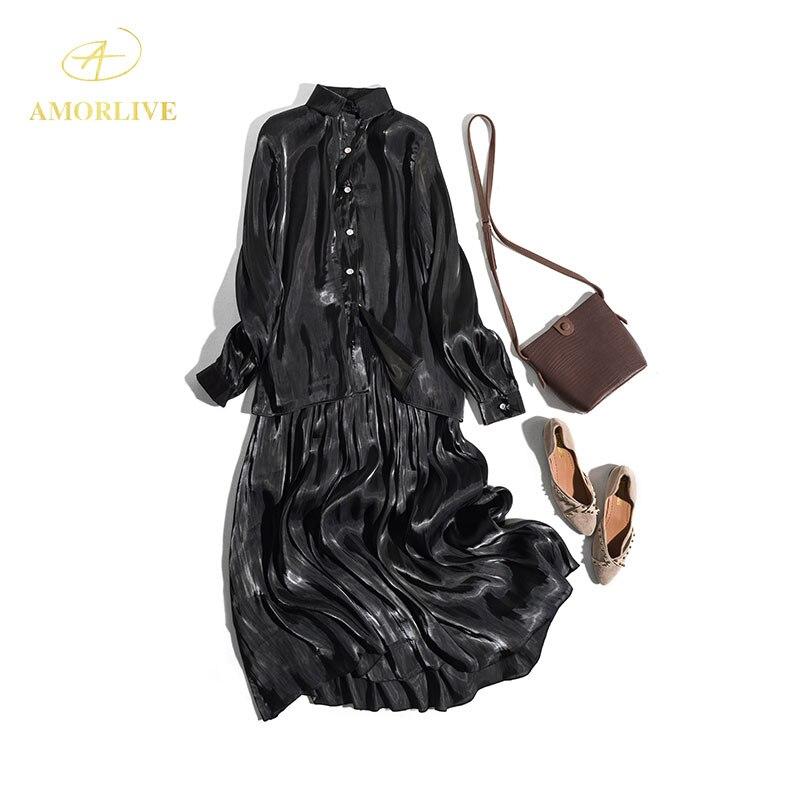 AMOR LIVE Vintage lumineux soie île Satin chemise noir longue robe demi jupe costume automne manches longues plis Maxi robes de fête