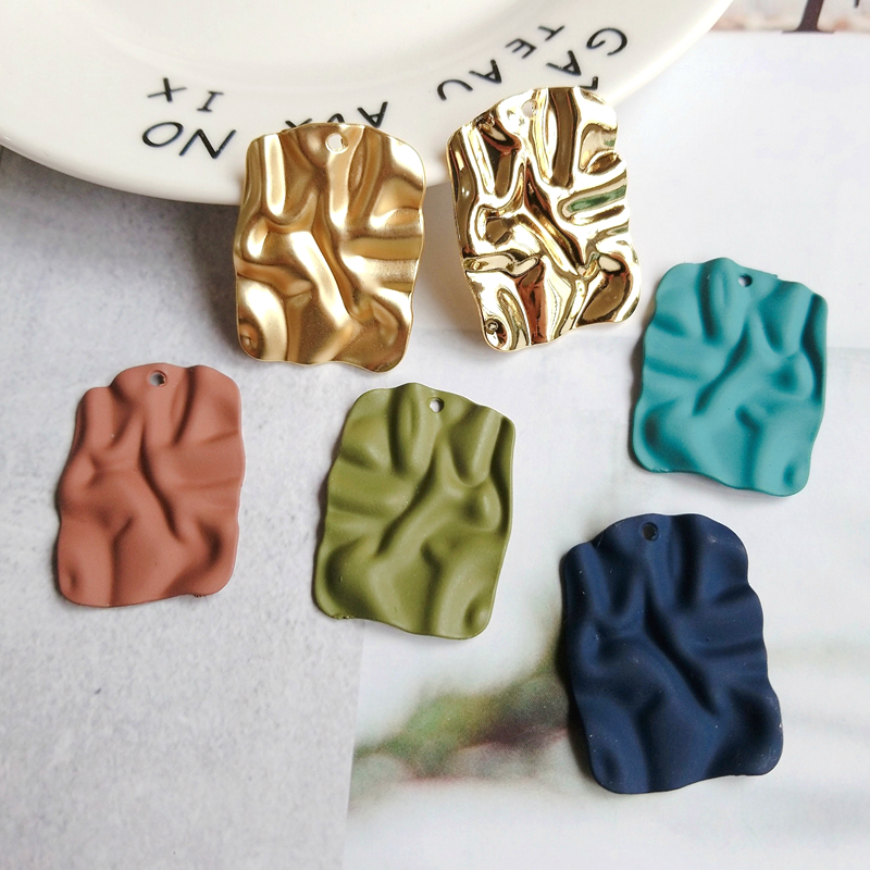 Alloy Painting Jewelry Wave Surface Rectangular Pendant DIY Earrings Accessories Material