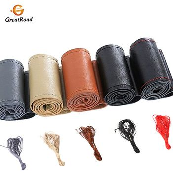DIY Car Leather Steering Wheel Covers Braid on the Steering-wheel Auto Cover With Needle and Thread Interior Accessories Kits 1pcs 37 38cm diy car auto steering wheel cover suede material car steering wheel cover needle and thread interior accessories