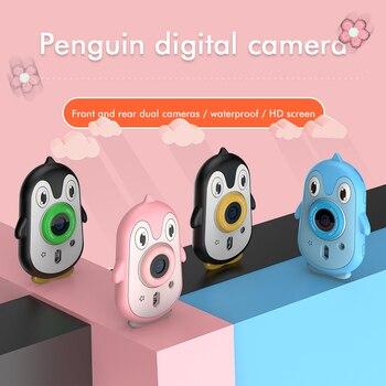 Cute Digital Camera 2MP Cute Penguin kid's Camera IP68 waterproof 4K Video2.4 inch Screen Children Christmas gift w/ Memory Card