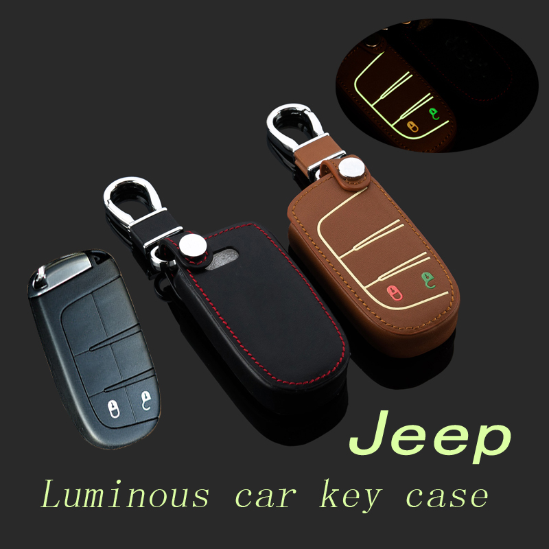 Leather car key bag Case Cover For Jeep Cherokee Grand Cherokee Wrangler Compass Patriot Smart Key Protective holder keychain
