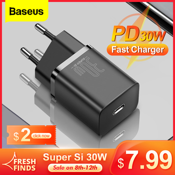 Baseus Super Si 30W USB C Charger Adapter for iPhone 12 Pro Type C QC 3.0 PD Fast Charge for Xiaomi Mobile Phone Quick Charger