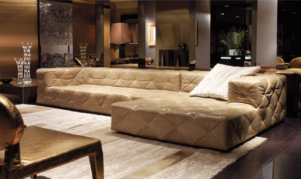 Leather Sectional Chesterfield L Shape Sofa w/ Crystal Buttons  4