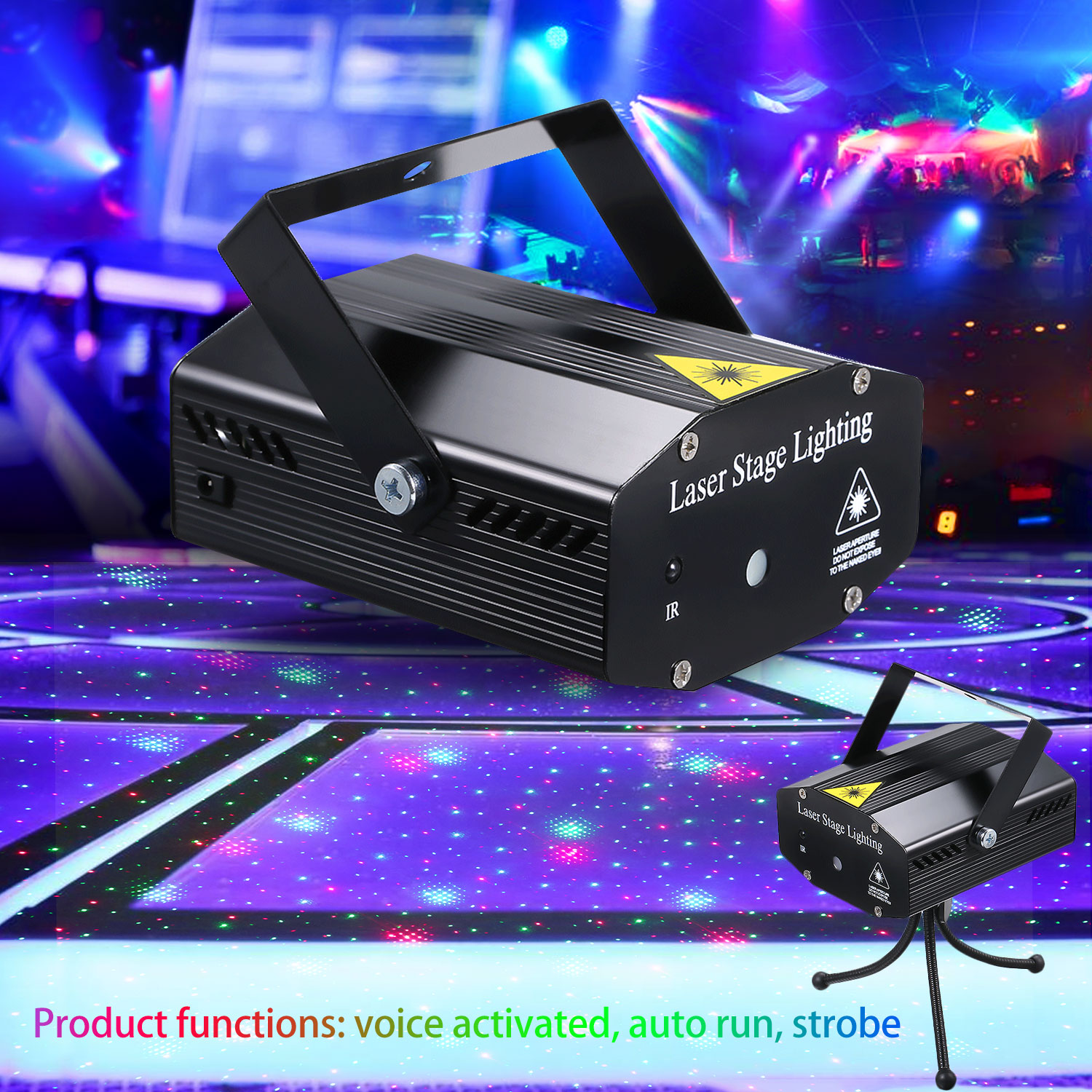 Mini DJ Disco Stage Strobe Laser Projector Light Voice Activated With Remote Control Party Show KTV Disco Christmas Party Lights