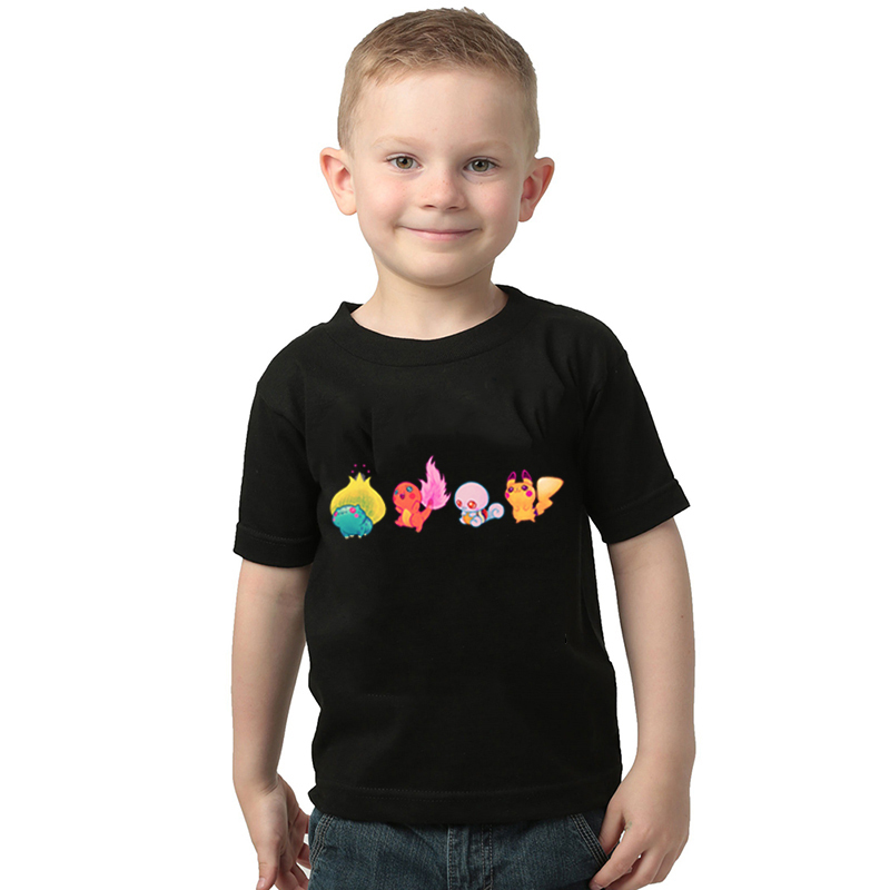 New Kids T Shirt Pokemon Starters Squirtle Charmander Bulbasaur and Pikachu Children T-shirt Boys and Girls Toddler Tee Tops image