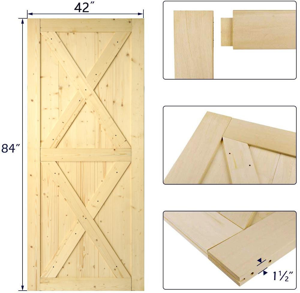 KINMADE 1-1/2in X 42in X 84in DIY Sliding Barn Door Unfinished Solid Pine Pre-Drilled Ready To Assemble One Kit 5 Styles