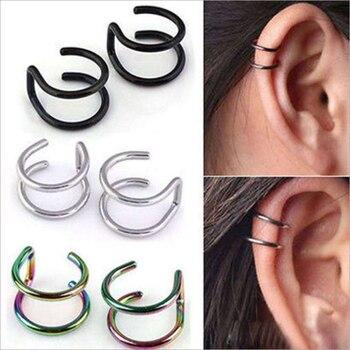 New Fashion 5 pcs 5 style Punk Rock Ear Clip Cuff Wrap Earrings No piercing-Clip Hollow Out U Pattern Statement jewelry Gift