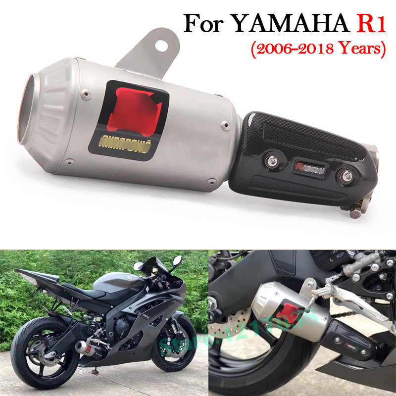 Slip on Motorcycle Exhaust Pipe Racing Escape Modified Muffler With Middle Connection Link Pipe For YAMAHA R6 YZF R6 2006 2018 in Exhaust Exhaust Systems from Automobiles Motorcycles